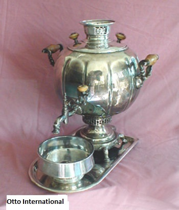 Antique Indian Silvered Samovar