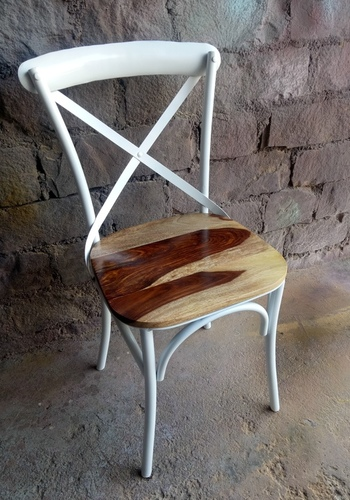 Cross Back Industrial Metal Chair With Wood Top