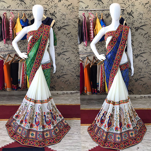 Party Wear Heavy Georgette Lace Mirror Border Saree