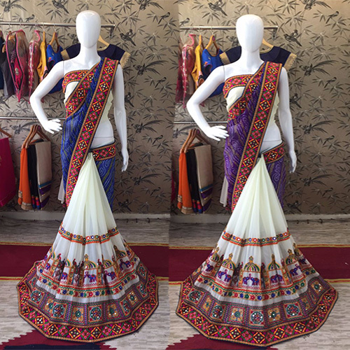 Designer Georgette Heavy Lace Mirror Border Saree