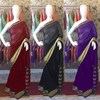 Strips Print Cotton Golden Border Saree