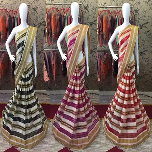Woven Chex Cotton Silk Saree