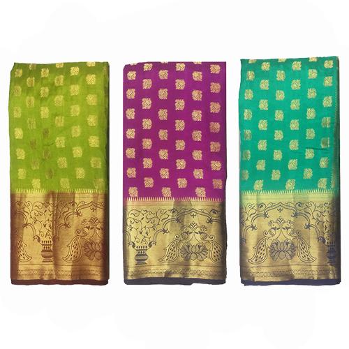 Golden Zari Work Paithani Silk Saree