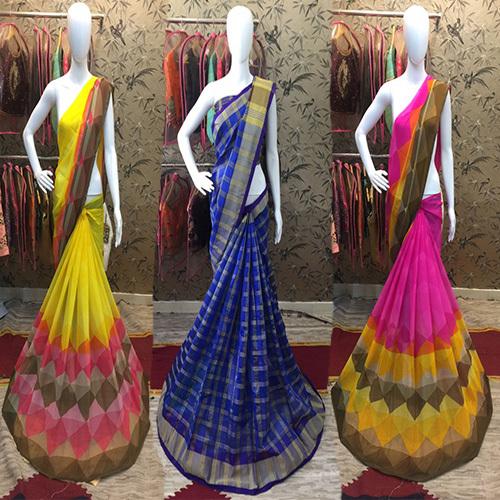 Colorful Diamond Chex Border Saree