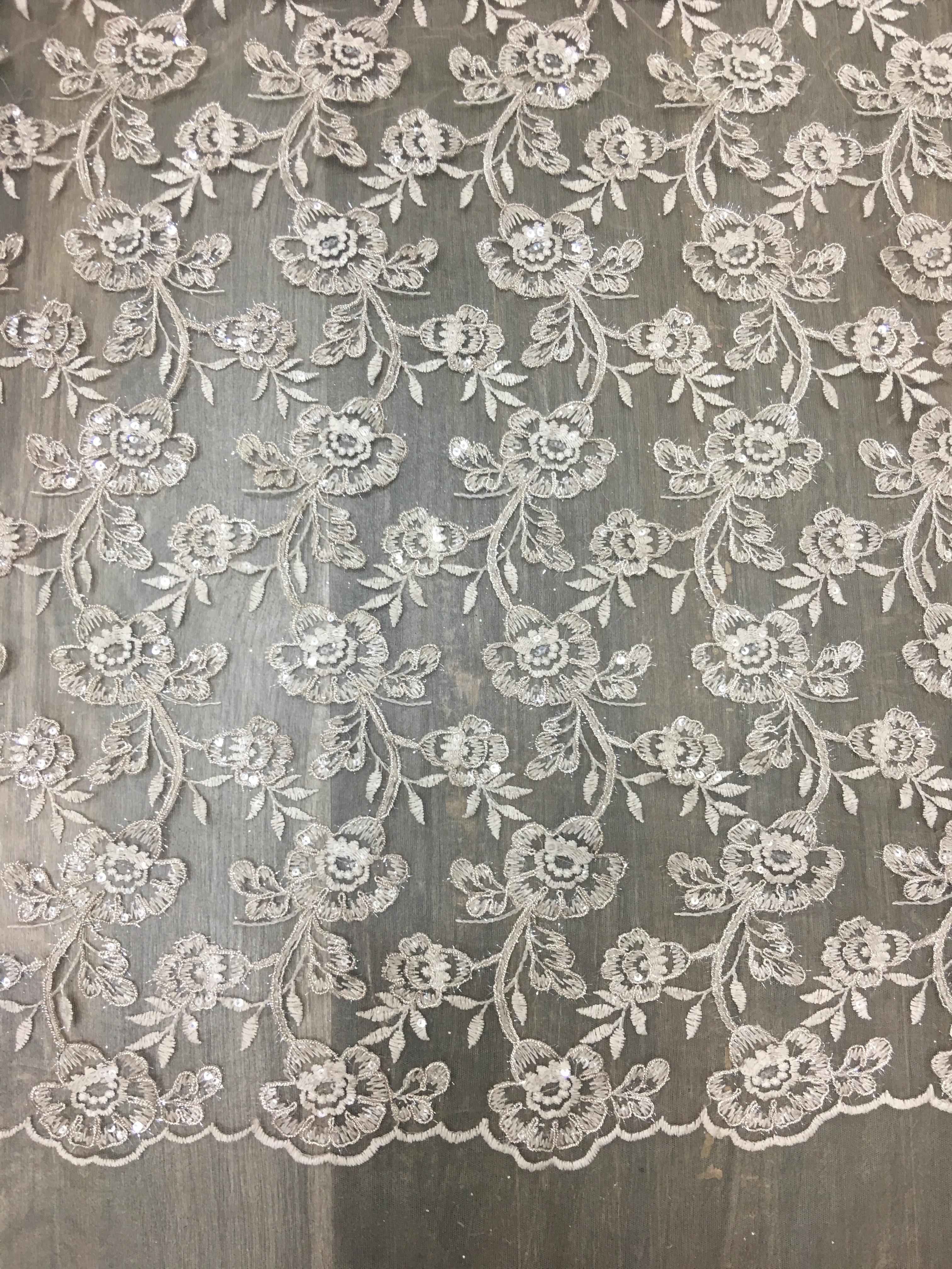 Designer Embroidered Net Fabric Designer Embroidered Net Fabric