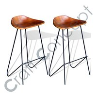 BROWN LEATHER SEAT BAR STOOL