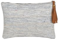 Silver Vintage Chindi Rag Rug Clutch Bag