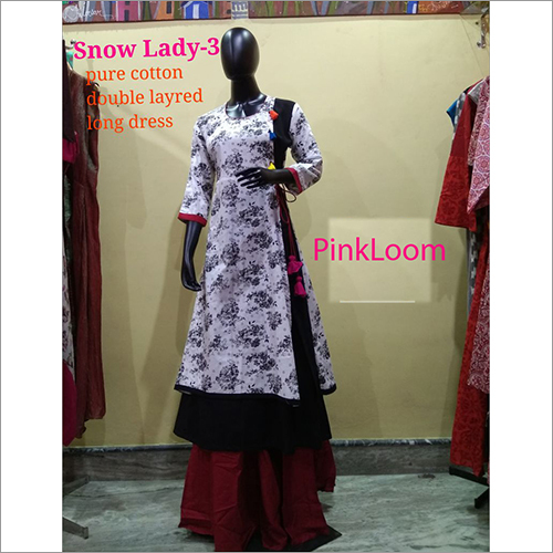Pure Cotton Double Layred Long Dress