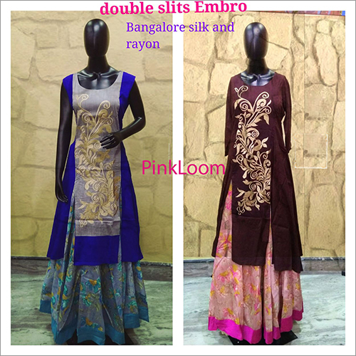 Double Slits Embro Bangalore Silk And Rayon