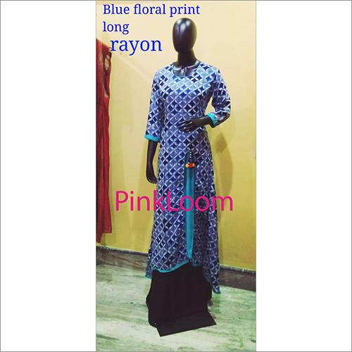Blue Floral Pring Long Rayon