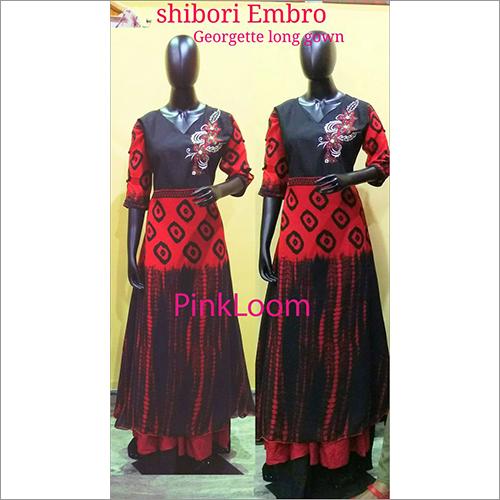 Shibori Embro Georgette Long Gown
