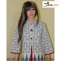 Jaipuri cotton white print kurti