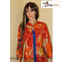 Rayon orange and blue kurti