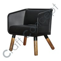 HEAVY BLACK IRON CHAIR WITH LEATHER SEAT