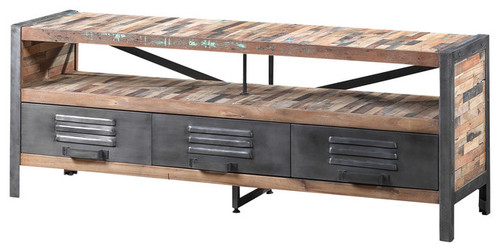 Iron & Wood Chest of Drawers Industrial Tv & Media Console Unit