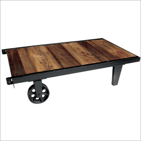 Cart Coffee Table Sheesham Top