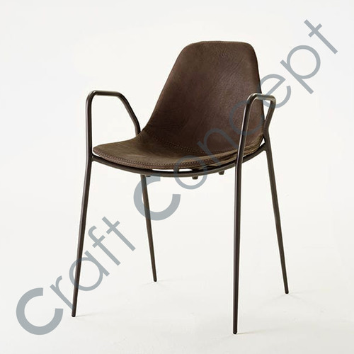 LEATHER SEAT IRON CHAIR