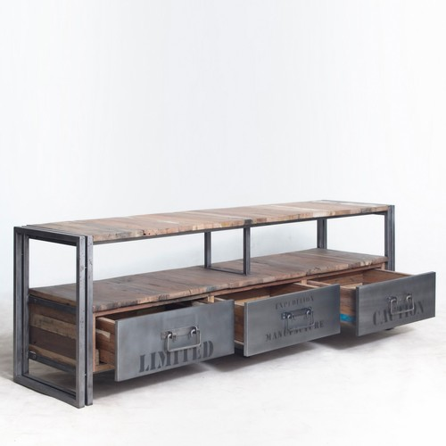 Rustic Wood & Metal Industrial Tv & Console Unit on Wheels