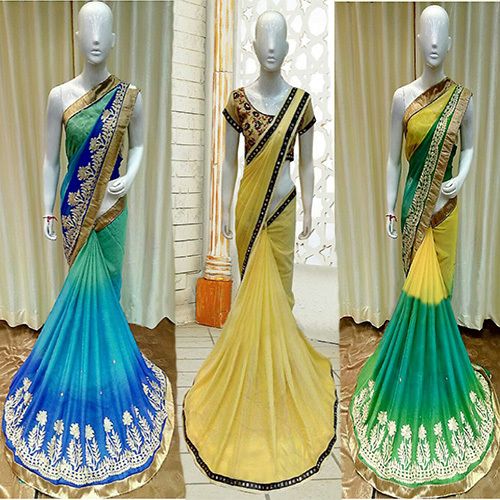 Designer Wedding Chiffon Saree