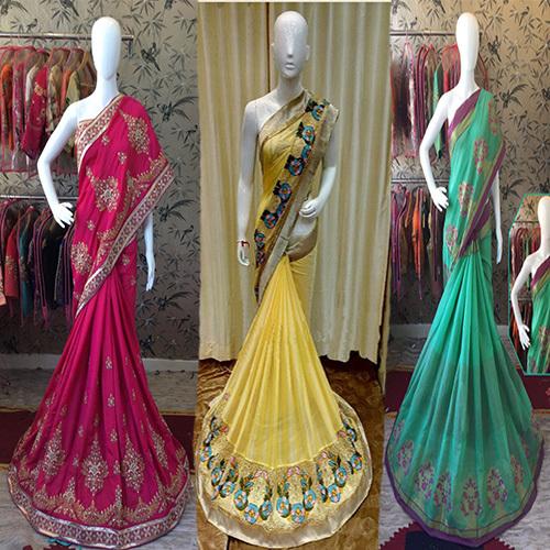 Golden Zari Work Cotton Silk Saree