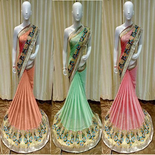 Resham Embroidery Designer Saree