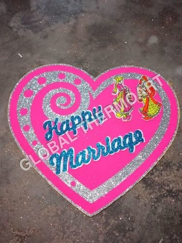 Thermocol Double Dil Marriage Sign Board