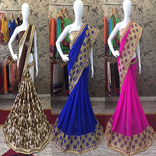 Georgette Embroidery work Designer Saree