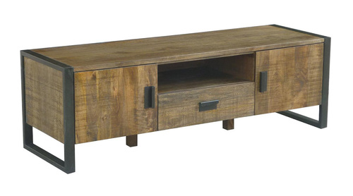 Reclaimed Wood & Metal Industrial Tv & Console Unit