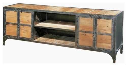 Rustic Wood & Metal Industrial Tv & Console Unit