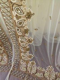Beautiful heavy stone work moroccan takchita embroidered fabric