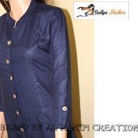 Nevy Blue Rayon plain Designer Kurti