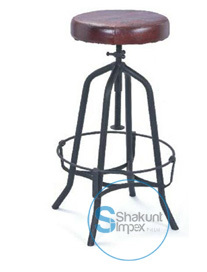Industrial leather seat bar stool