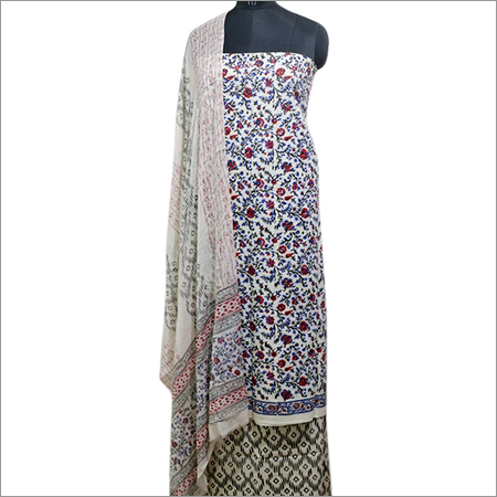 Cotton Hand Block Printed Unstitched Dress Material
