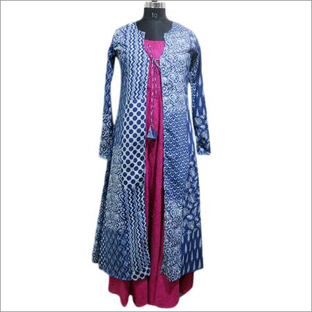 Ladies Indigo Printed Long Kurti