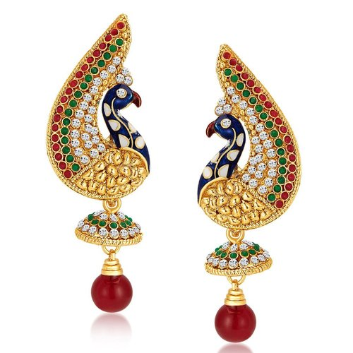 Peacock Gold Plated Earrings