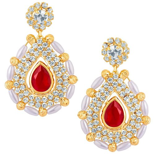 Fabulous Gold Plated Earrings With White Pearls