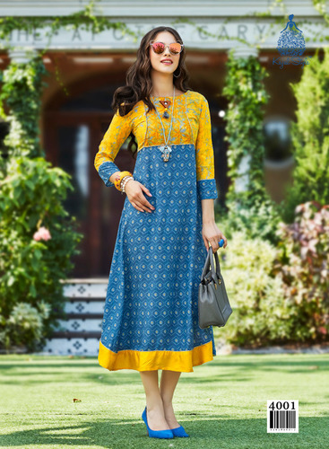 long rayon fancy kurtis