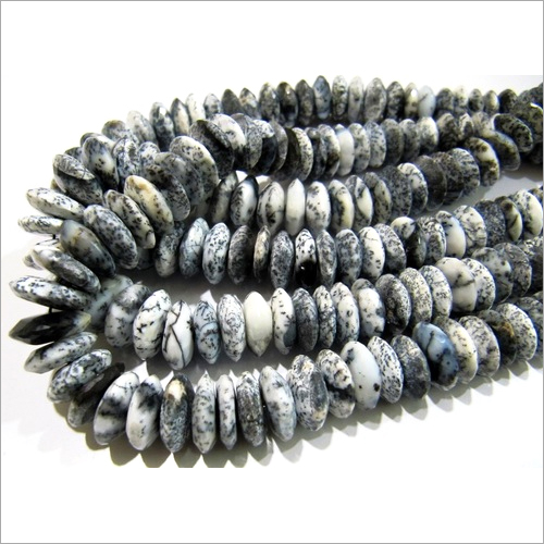 AAA Quality Natural Dendrite Opal German Cut Rondelle Faceted Beads