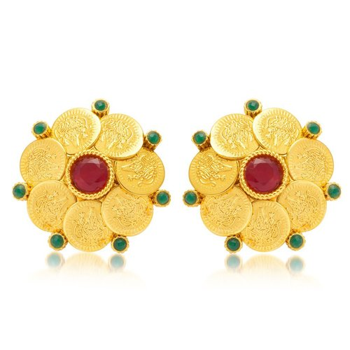 Gold Plated Temple Jewellery Coin Earrings