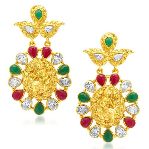 Gold Plated AD Temple Jewellery Earrings