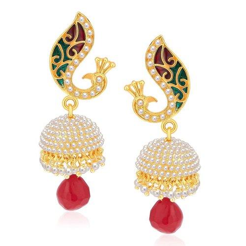 Peacock Gold Plated Pearl Drop Jhumki Earrings