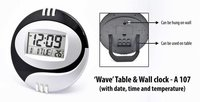 WAVE' TABLE & WALL CLOCK (WITH DATE,TIME AND TEMPERATURE)
