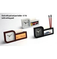CLOCK WITH PAD AND PEN HOLDER