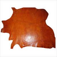 Buffalo Calf Vegetable Tanned Croco Print Leather