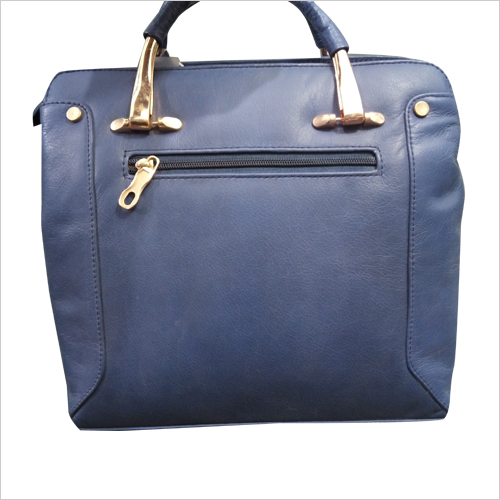 Ladies Blue Leather Hand Bag