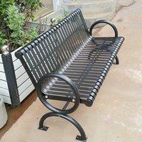 Industrial metal patio bench