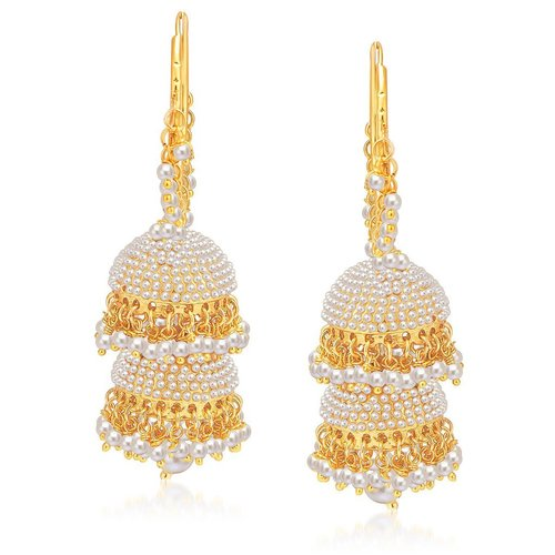 Luxurious Gold Plated Pearl Jhumki Earring