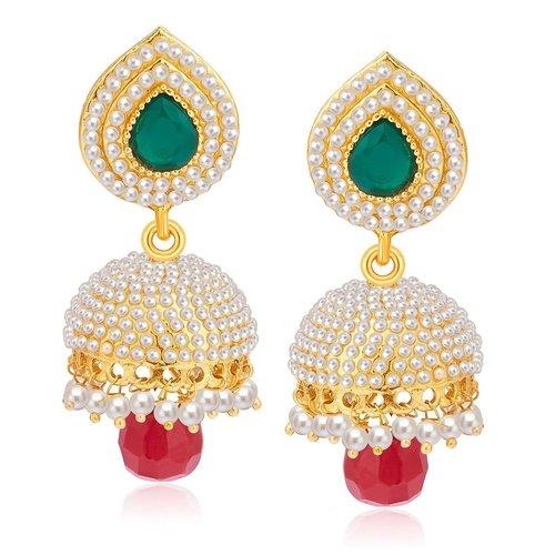 Stylish Gold Plated Pearl Jhumki Earrings