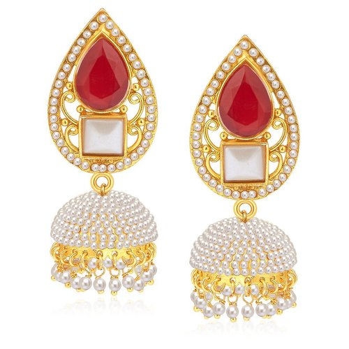 Stylish Gold Plated Pearl Jhumki Earrings