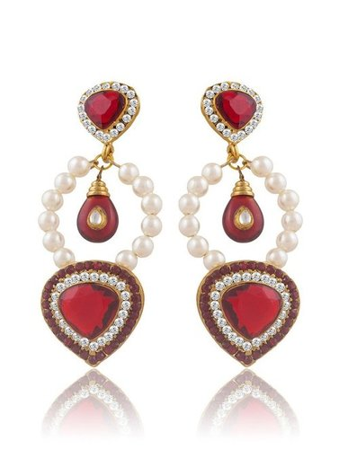 Luxurious Gold Plated Pearl Drop Earrings